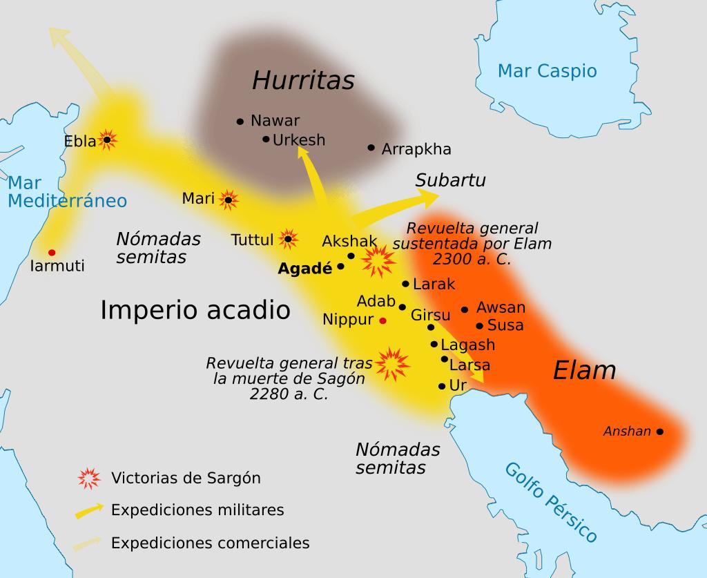 Mapa de la extensión del Imperio acadio con las conquistas de Sargón y las principales revueltas posteriores.