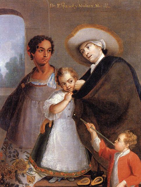 De español y mulata, morisca. Miguel Cabrera, 1763, óleo sobre lienzo