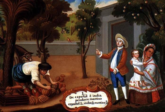 representación de mestizos en una pintura de castas