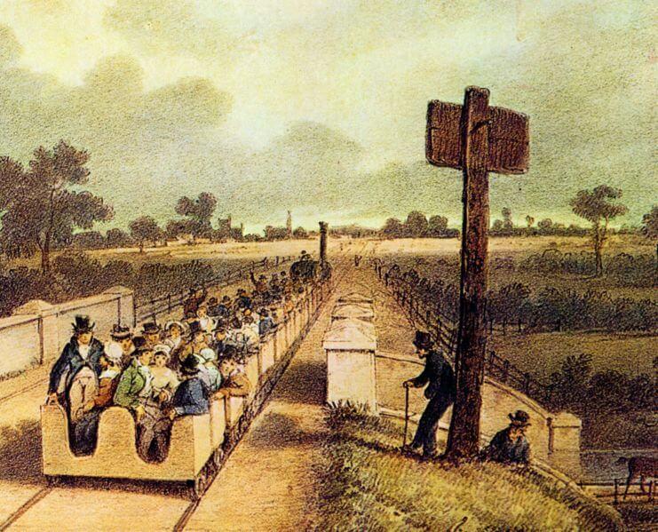 viaje inaugural del ferrocarril de Liverpool y Mánchester