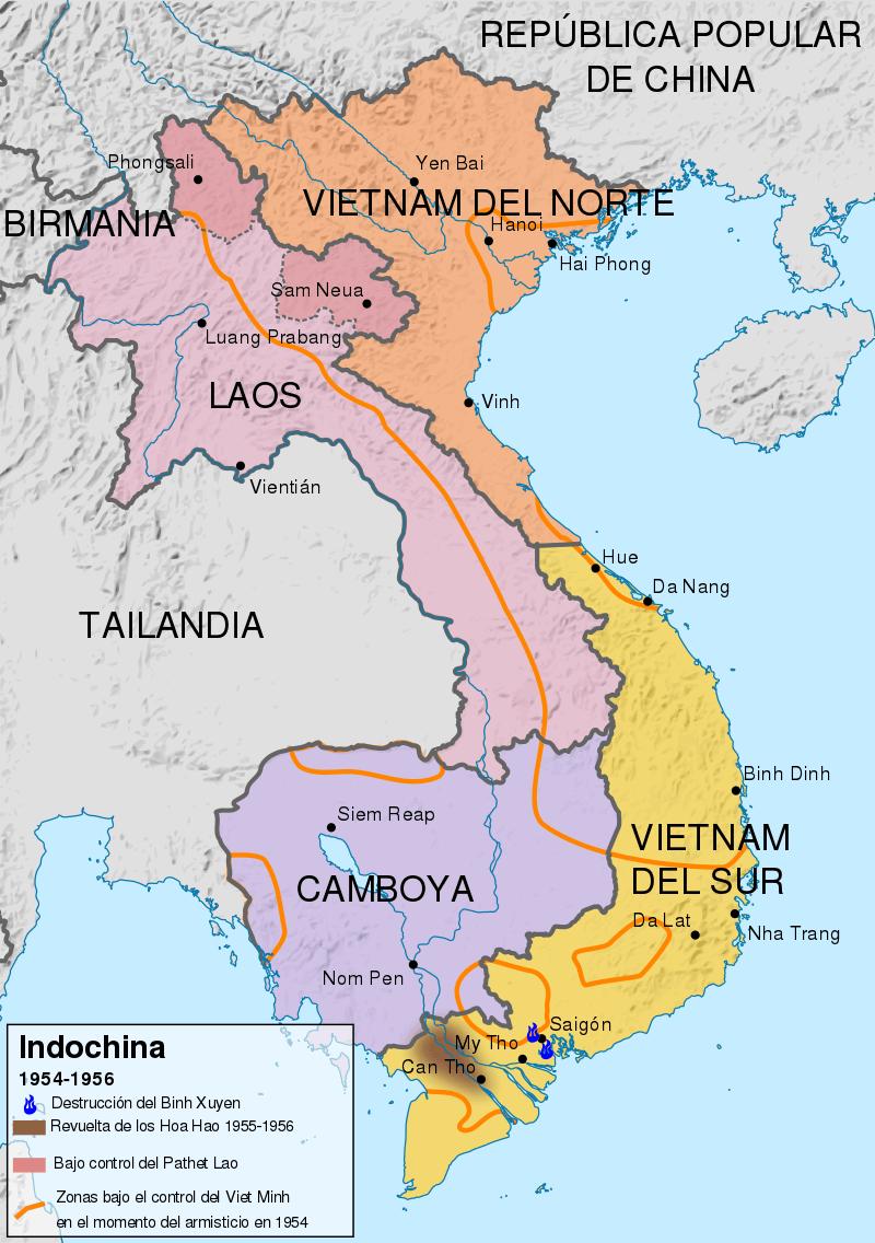Situación de Indochina en 1954-1956.