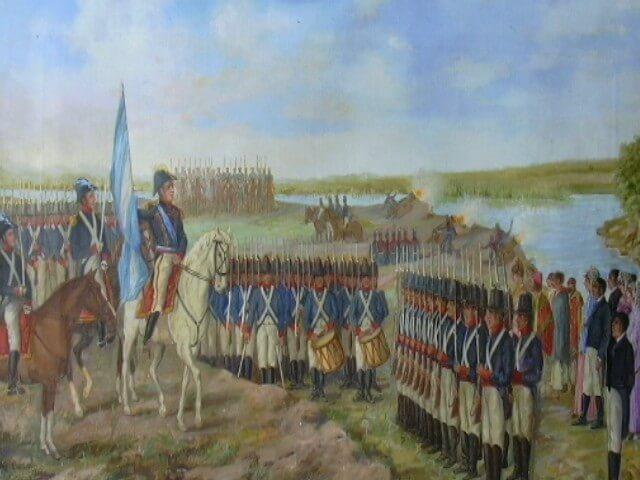 Manuel Belgrano enarbolando por primera vez la Bandera Azul y Blanca.