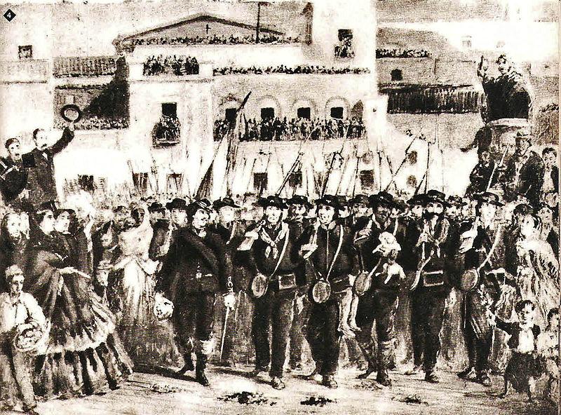 salida de las fuerzas porteñas desde la ciudad Buenos Aires rumbo a la Batalla de Pavón.