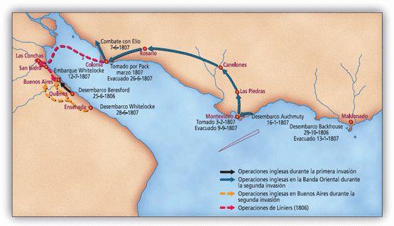 Trayecto de la Segunda Invasión Inglesa.