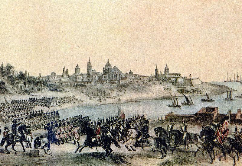 Invasiones inglesas a Buenos Aires, pintado por Madrid Martínez, litografía de 1807.