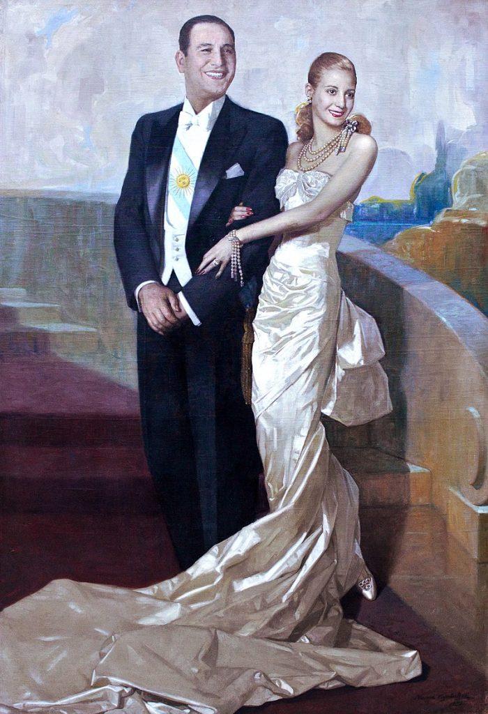 Juan Domingo Perón junto a su esposa Eva Duarte
