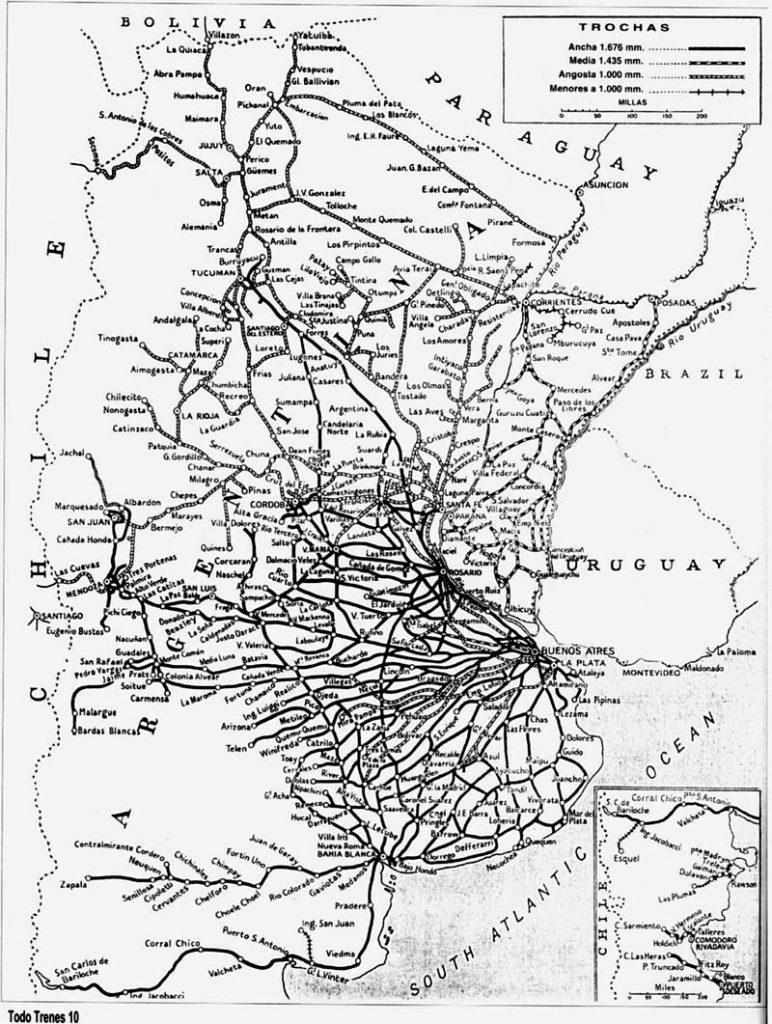 Red Ferroviaria Argentina hacia 1960.