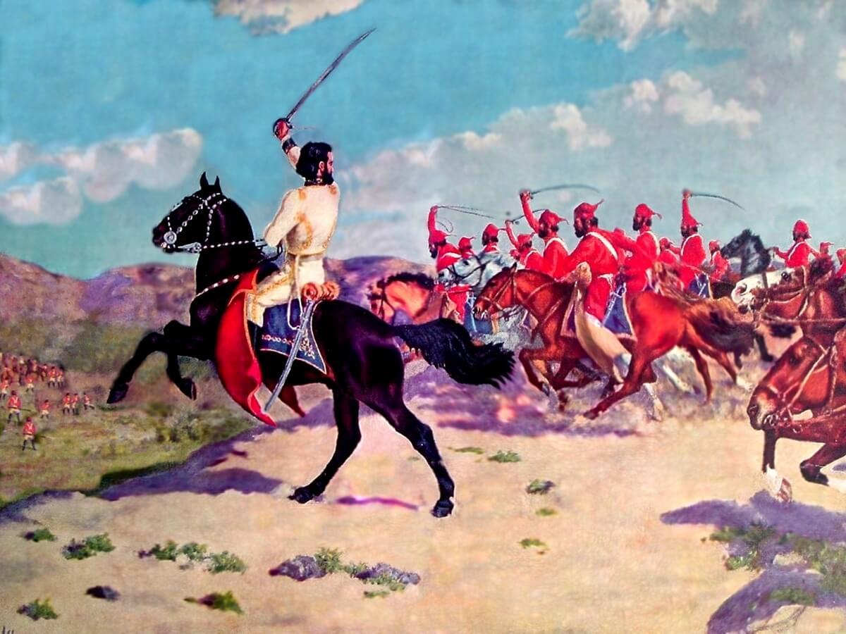 """""""Carga de Güemes y sus Infernales"""". Óleo sobre tela realizado por Juan A. Boero."""