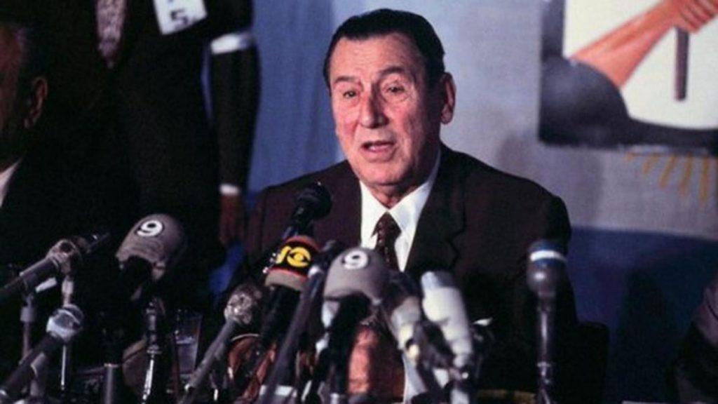 Perón dando discurso en su tercer mandato presidencial