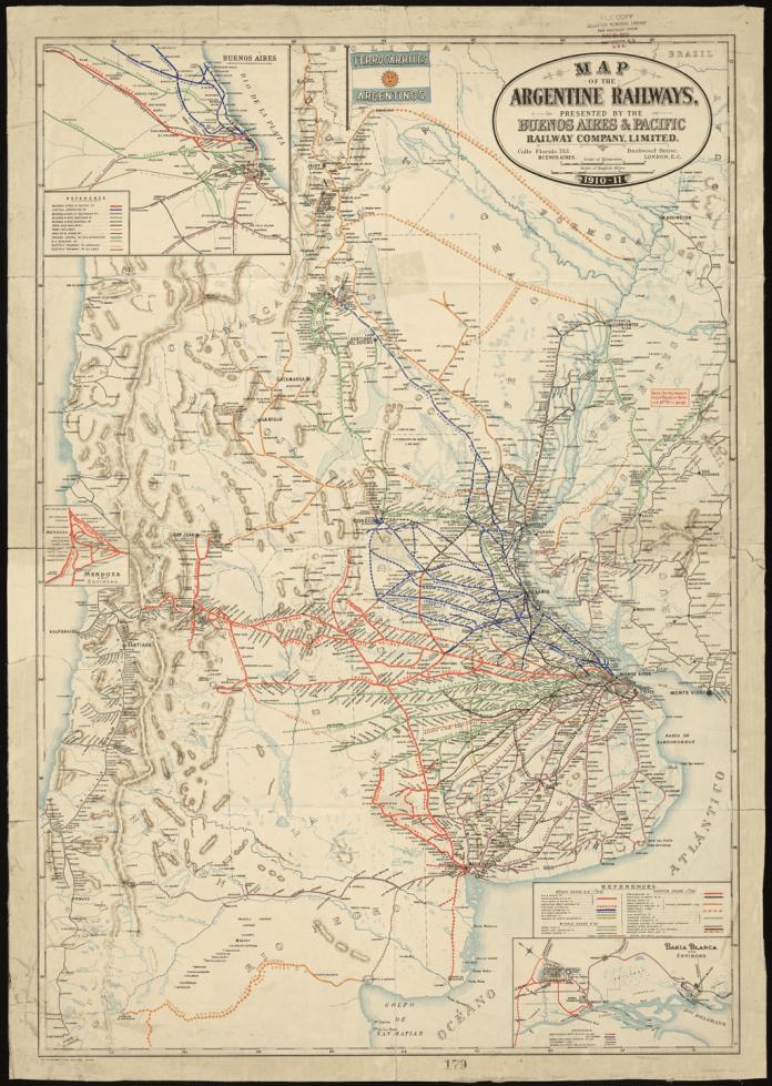 Red ferroviaria argentina hacia 1911.