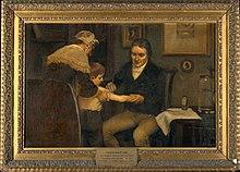 Jenner realizando su primera vacunación