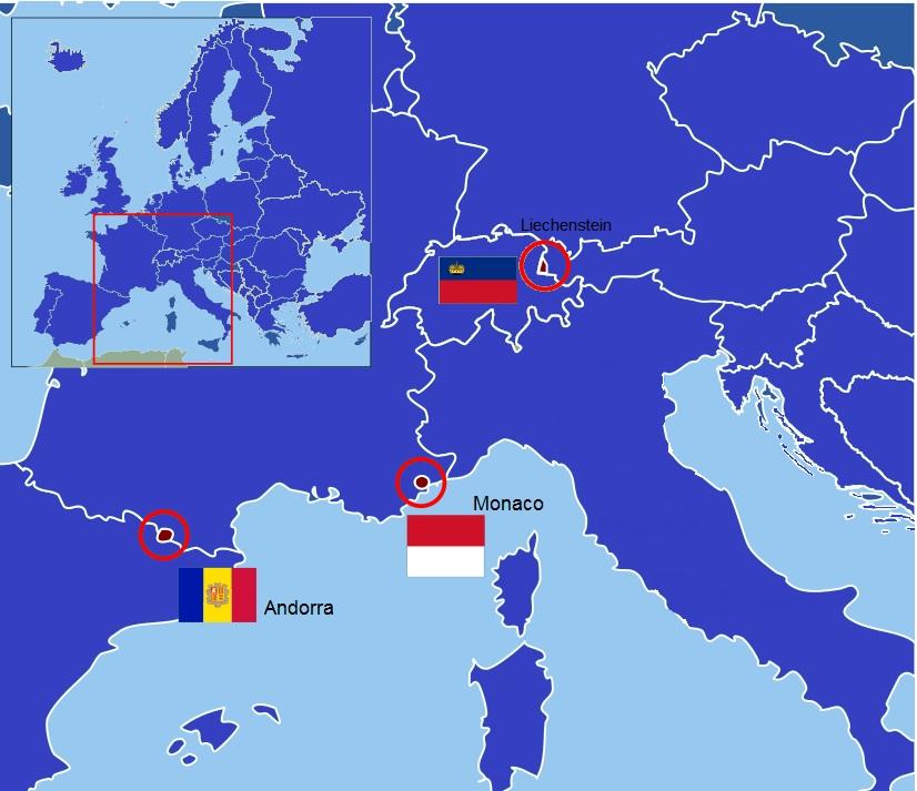 Mapa división política, ubicación Estados soberanos con rango de Prinicpado